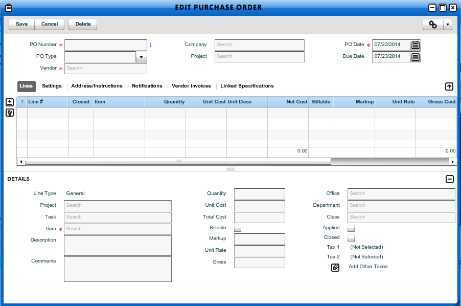add new purchase order workamajig online help guide
