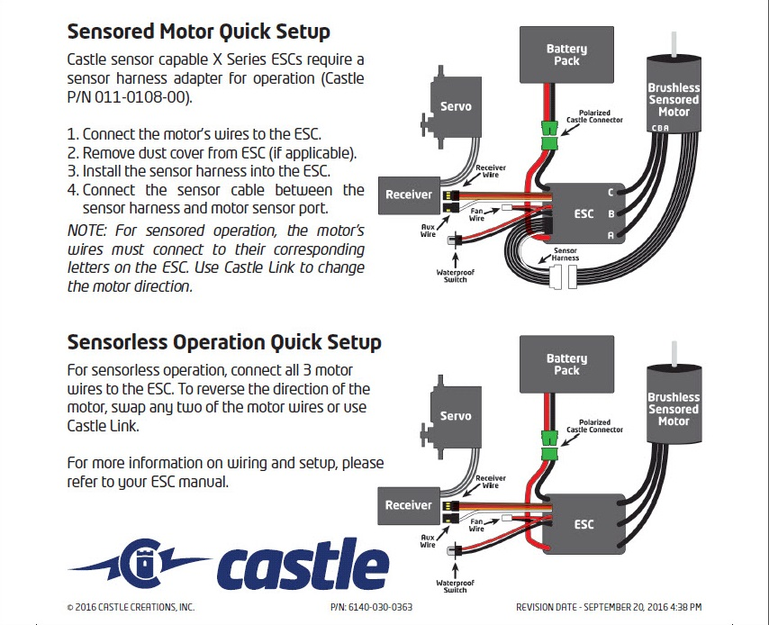 Sensored Motor Quick Start castle 1406 sensored motor 5700kv castle motor wiring diagram at readyjetset.co