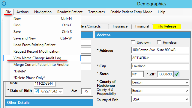 b287b7aaf You will see the changes made to the patient s name along with the date