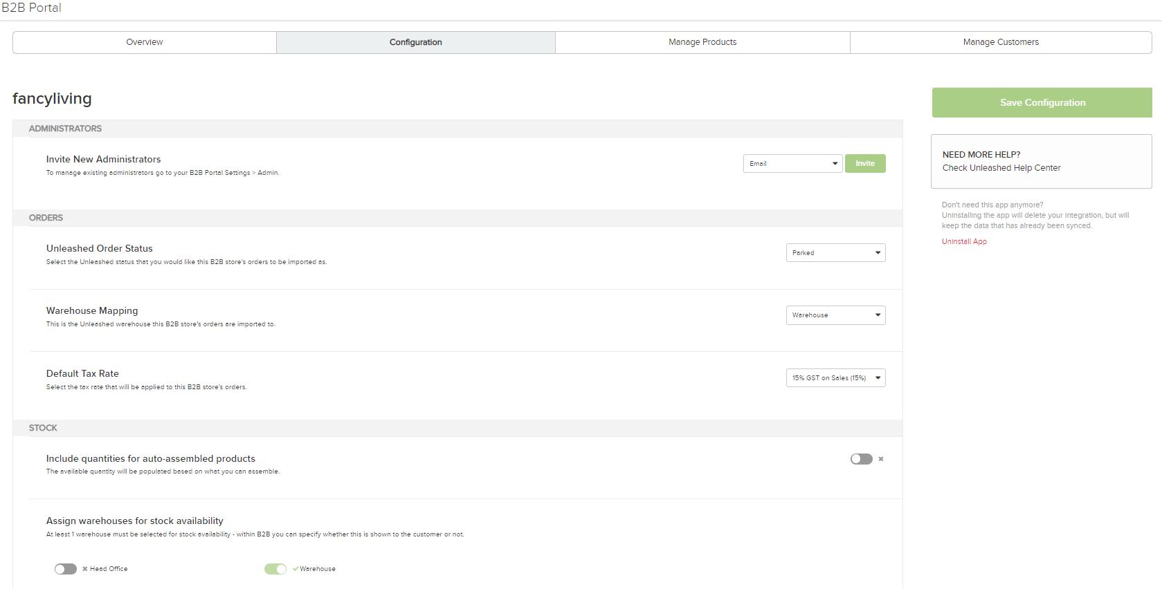 B2B Portal Setup - Unleashed Inventory