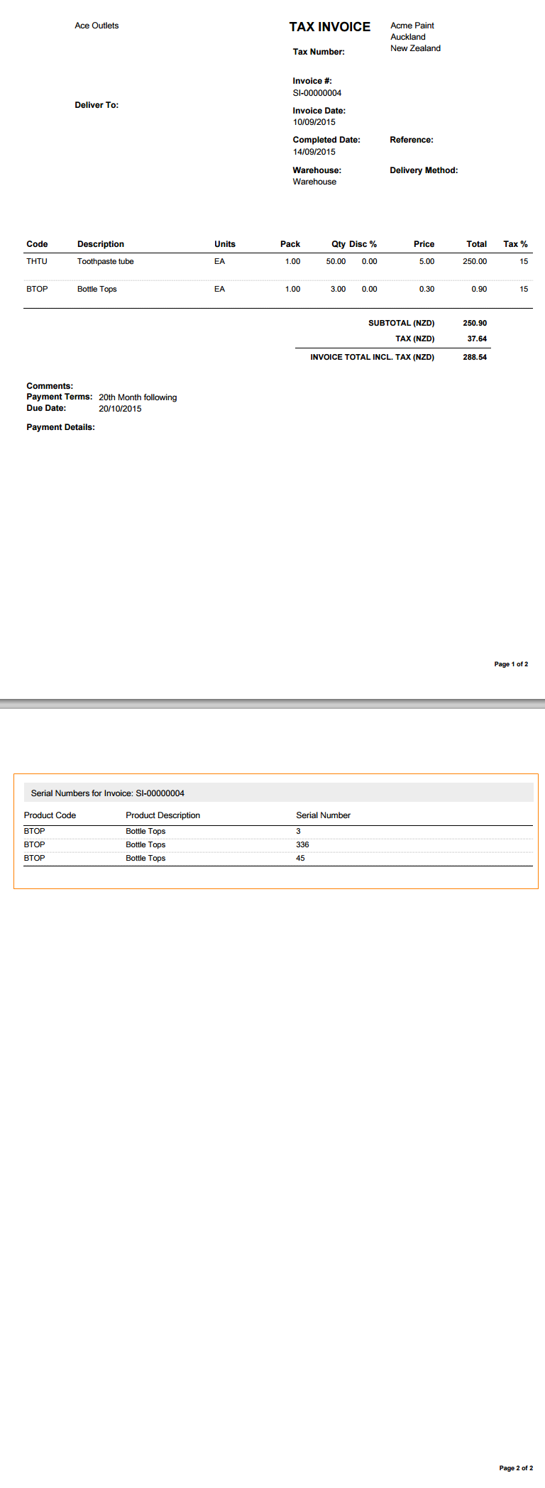 A PDF Of The Invoice Is Generated That Contains The Serial Numbers  Associated With The Invoice (screenshot)