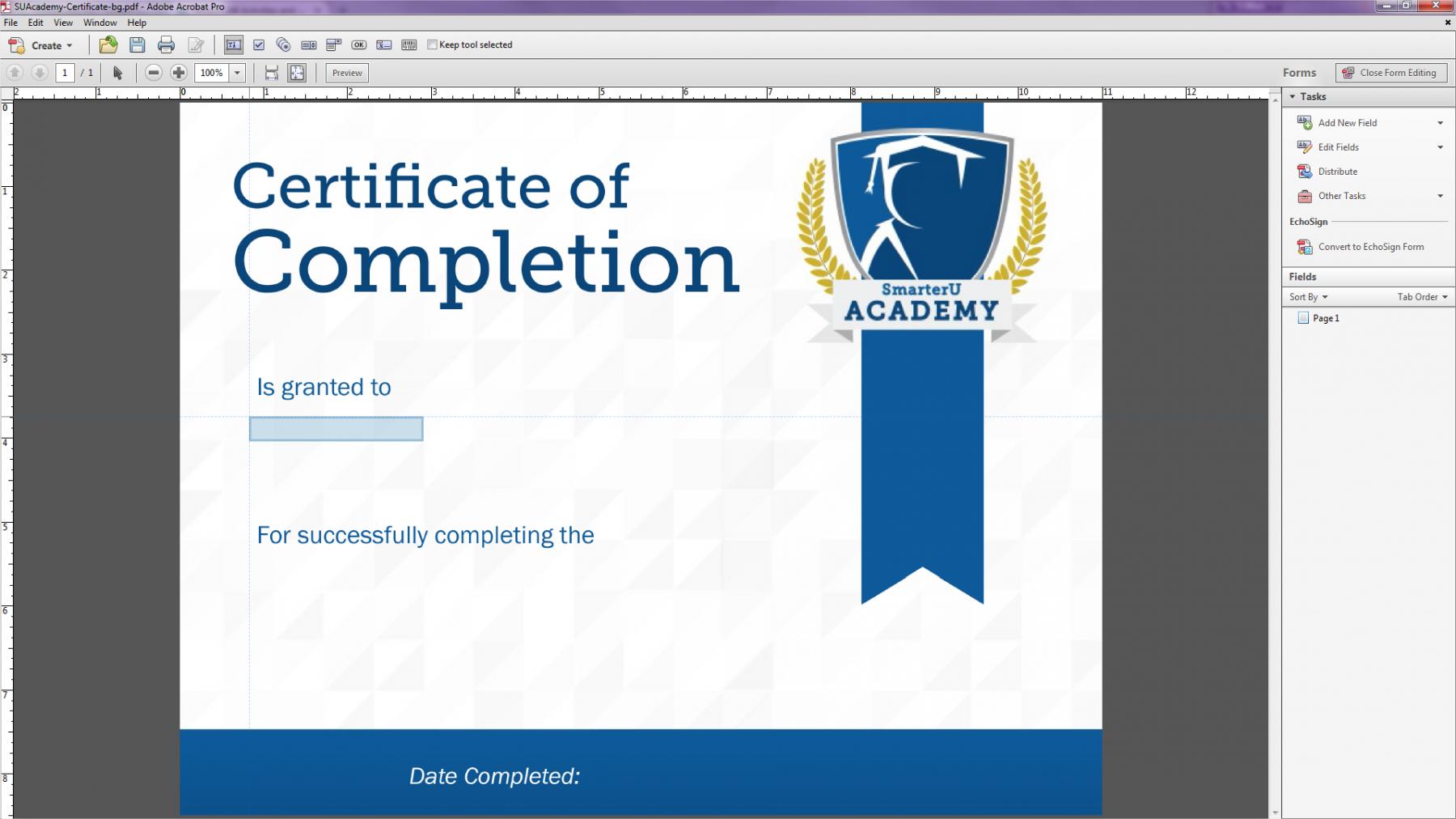 Creating a Custom Certificate: Adding Fields to the PDF - SmarterU com