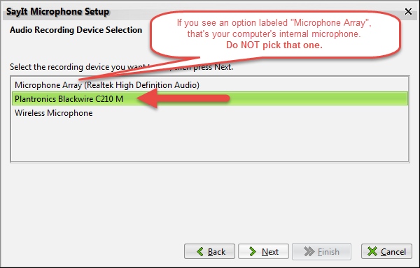 SayIt Help: Microphone Setup Wizard - nVoq Support Center