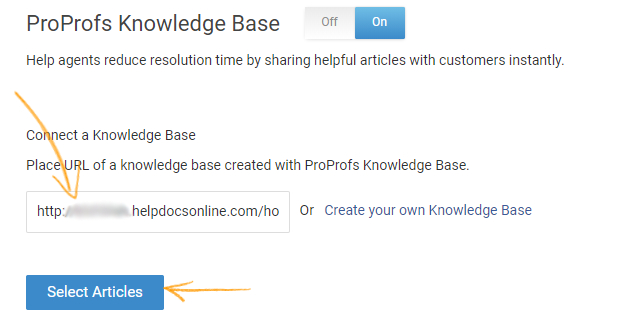 Enter the URL of the Knowledge Base and click on Select Articles.