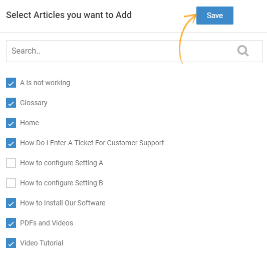 The articles you have selected act as default articles which can be seen when you click the knowledge base icon.