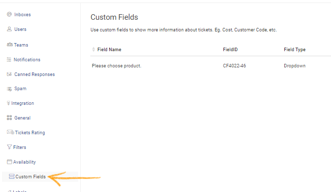 Go toSettings >> Custom Fields.
