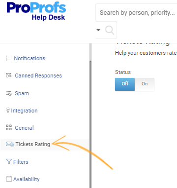 Navigate to Settings and click on Tickets Rating