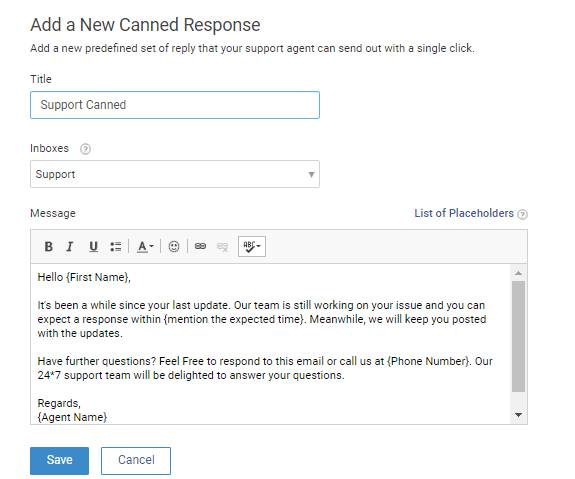 "Click ""Save"" to add and activate the canned response."