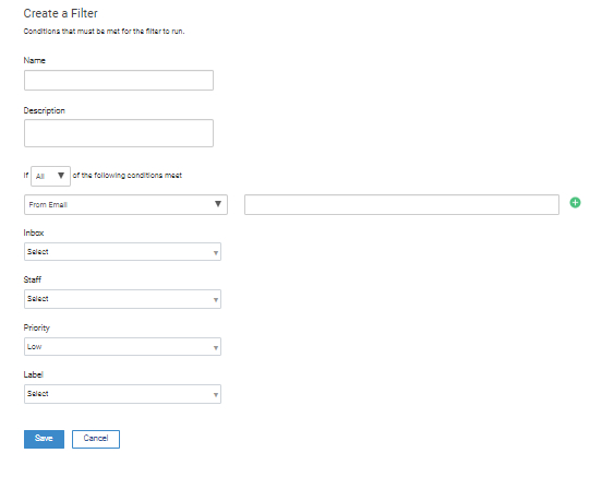 The Filter Customization Window is given below.