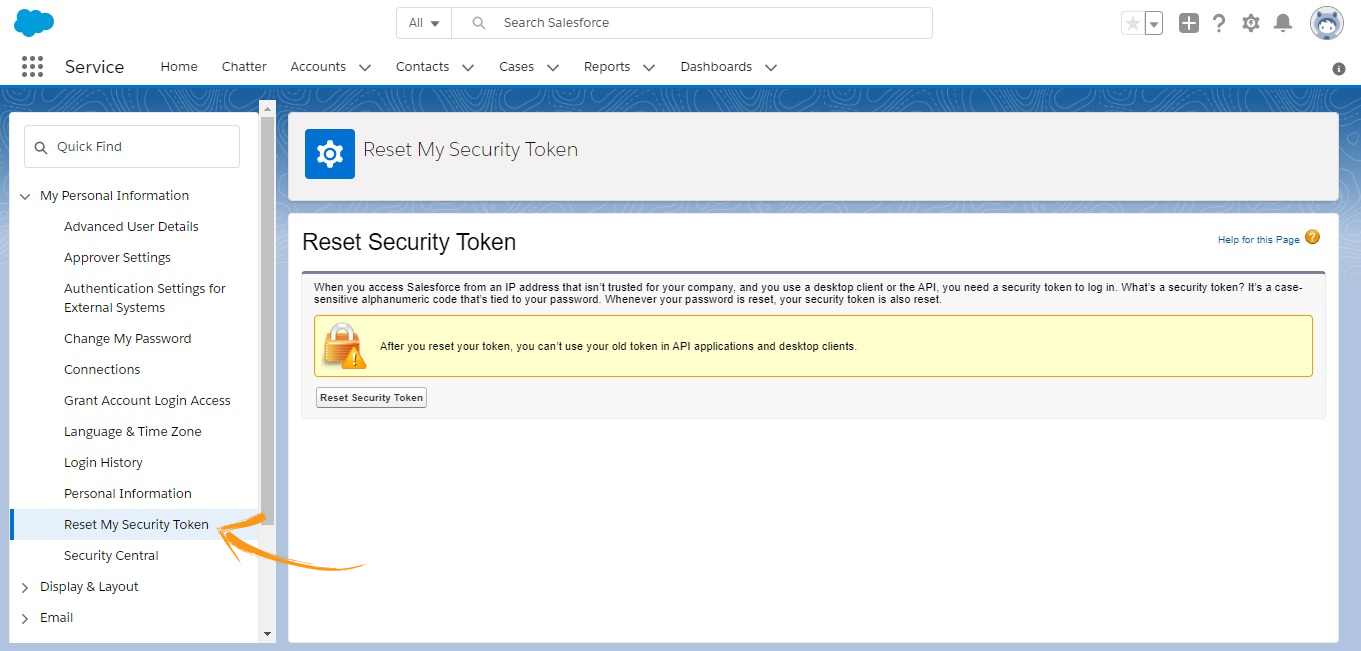 Click 'Reset My Security Token' to get a new security token.