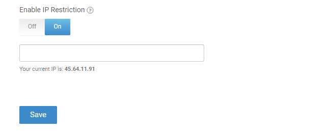 Check Enable IP Restrictionsand additional fieldswill appear.