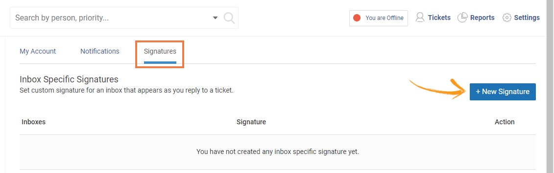 Signatures tab in help desk