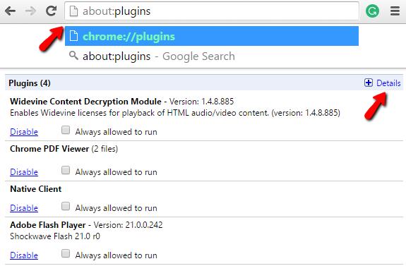 google chrome plugins disable flash