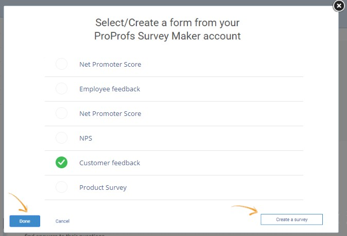 Select or Create a Survey