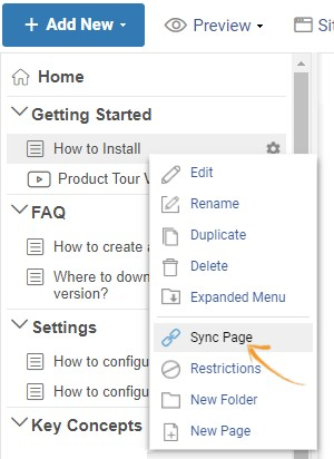 Sync a page with another page