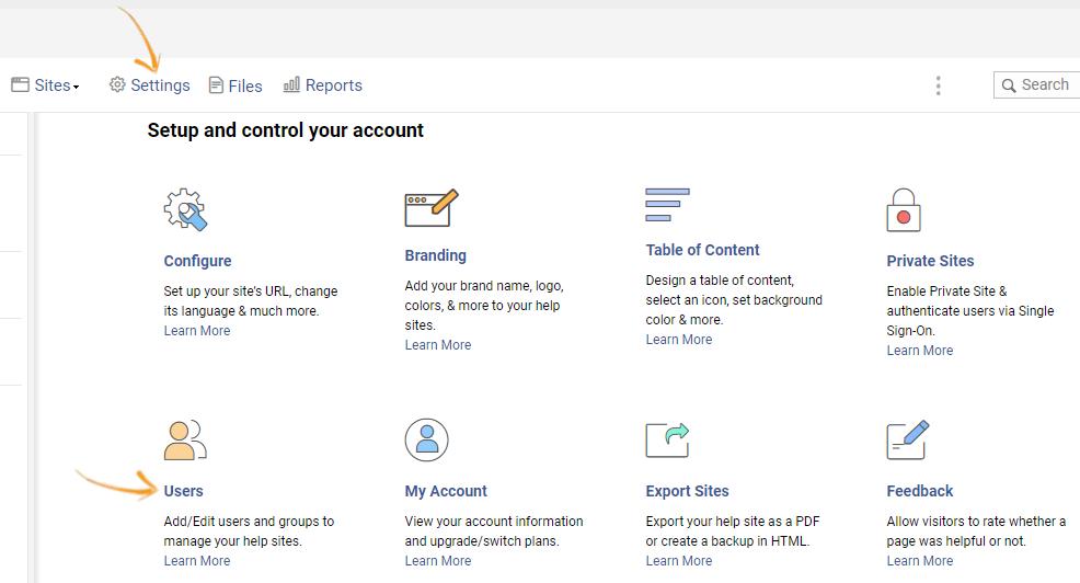 Online knowledge base settings