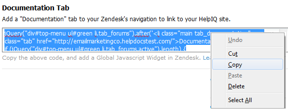 Add a Documentation Tab in Zendesk - ProProfs Knowledgebase FAQs