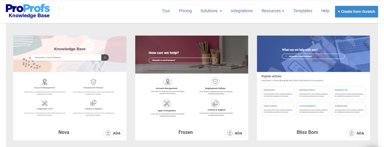 Knowledge Base templates adhere to ADA guidelines
