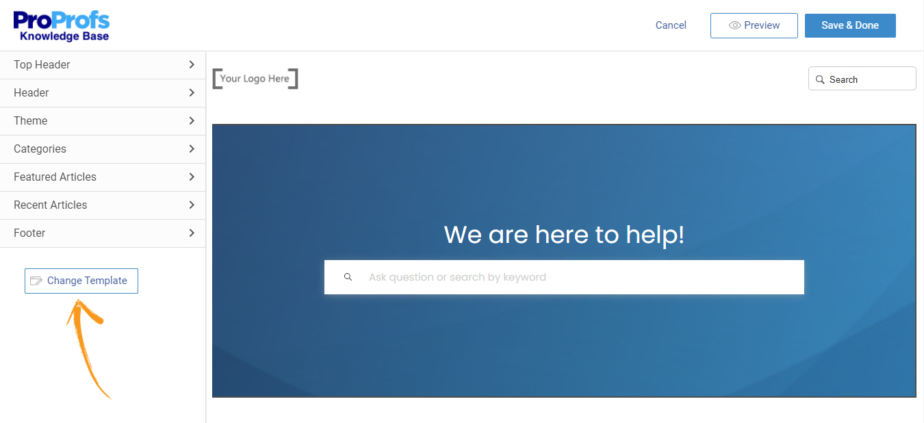 Change homepage template