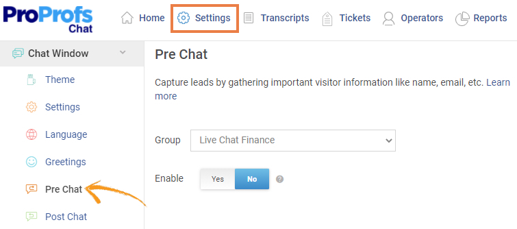 Manage pre-chat groups