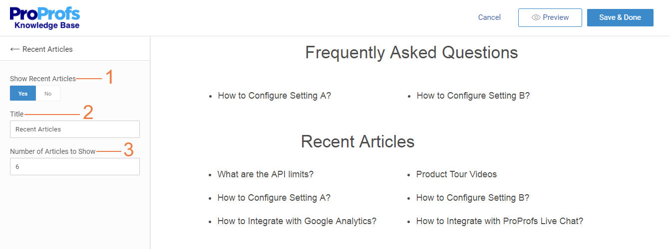 Add recent articles on homepage