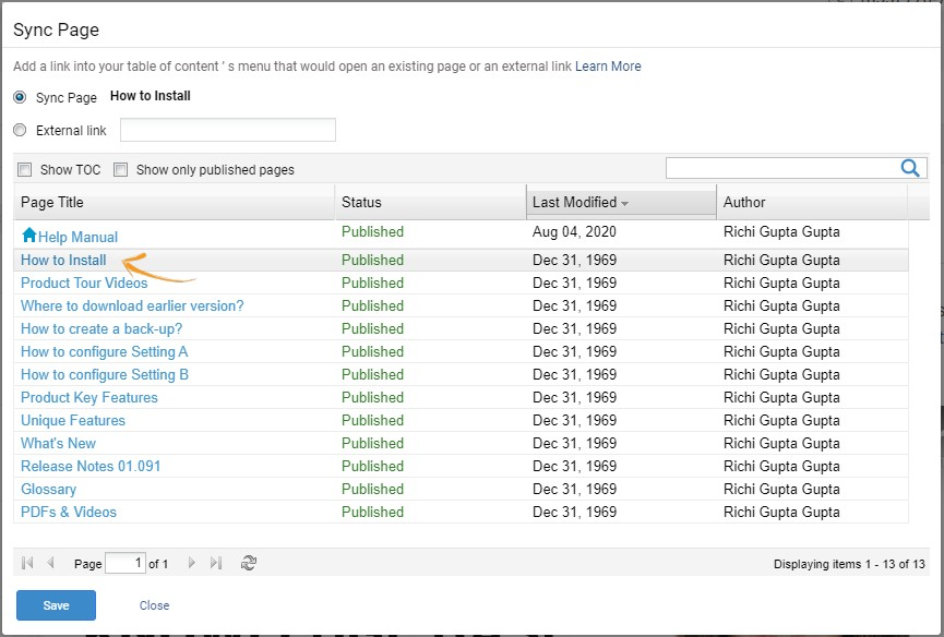 A window willappear listing all the published pages. Select the page you wish to sync, then click Save