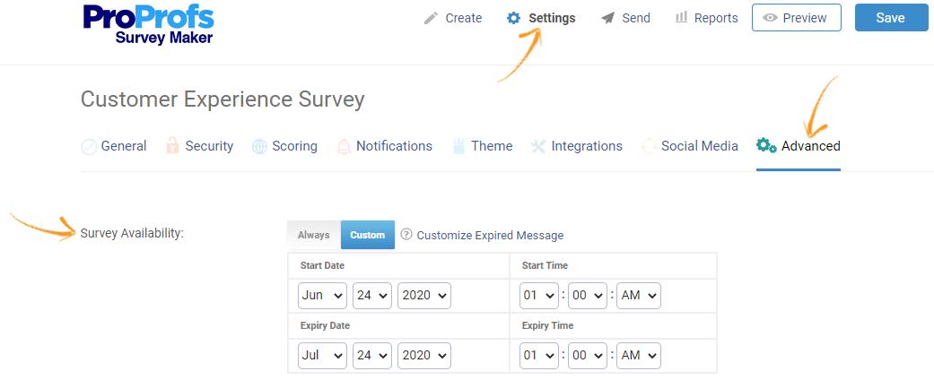 Online survey availability settings