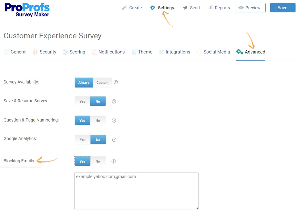 Blocking emails in surveys