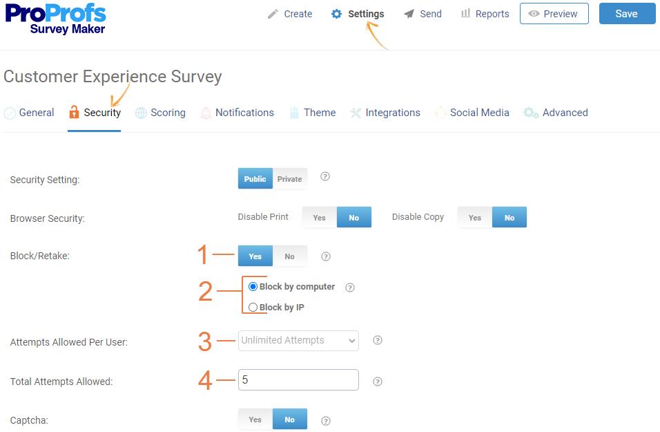 Security settings of online surveys