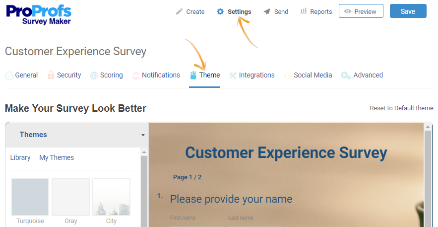 Themes for online surveys