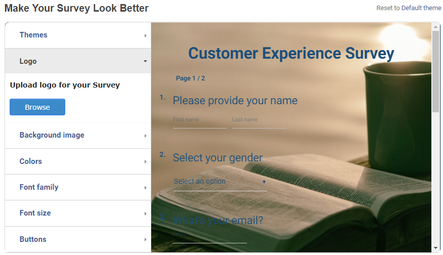 Upload logo in online survey