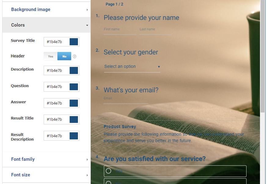 Background color in online survey