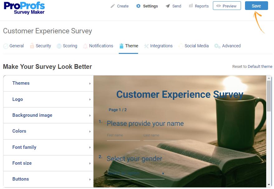 Theme settings in online surveys
