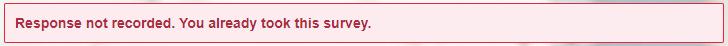 Online survey warning message