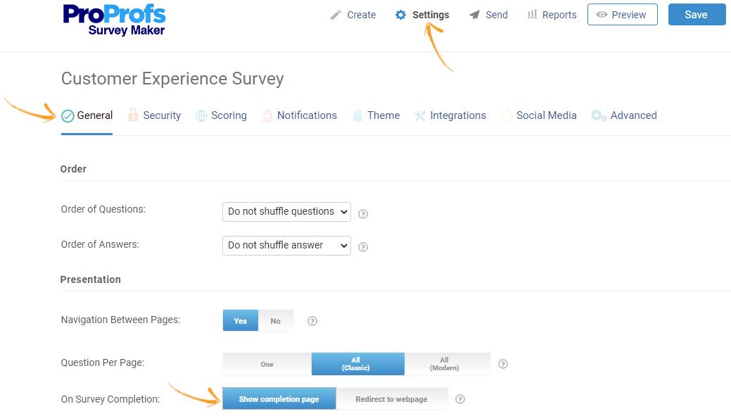 Online survey settings