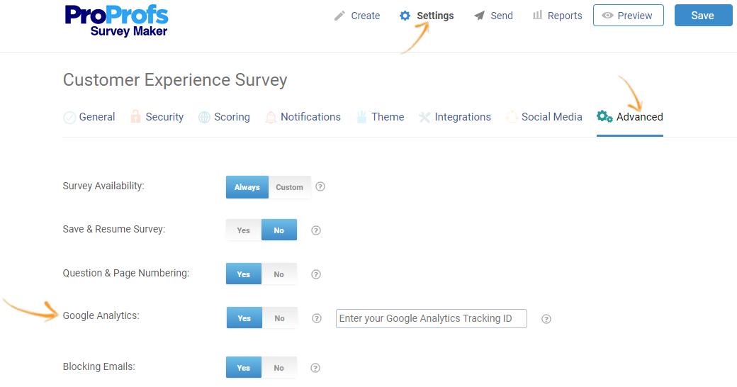 Enable Google Analytics in Survey settings