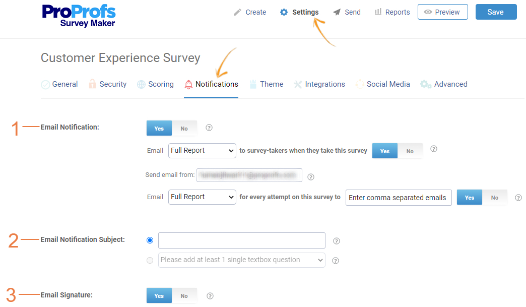Notifications for online surveys
