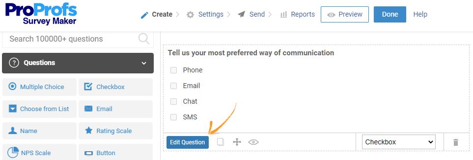 Edit survey question online