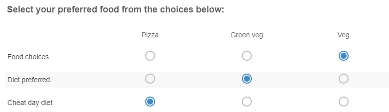 Grid of choices question