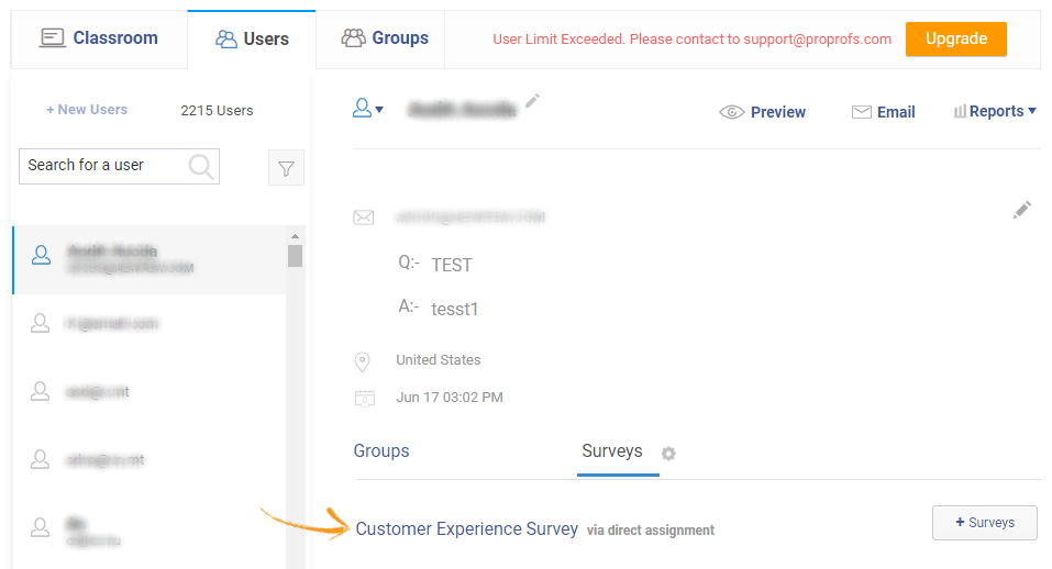 Add surveys to users