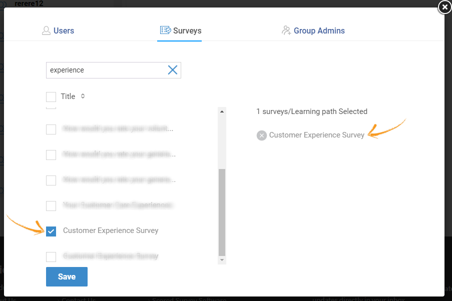 Assign surveys to groups