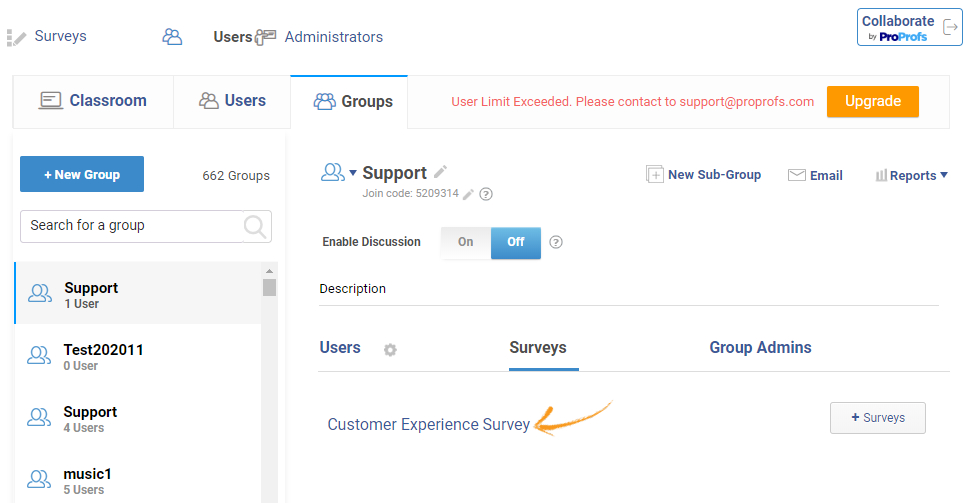 Add surveys to groups
