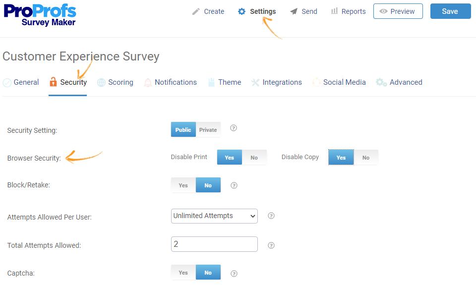 Browser security of a online surveys