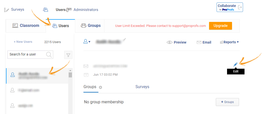 Manage users of online surveys