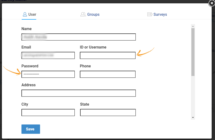 Assign username and password for surveys