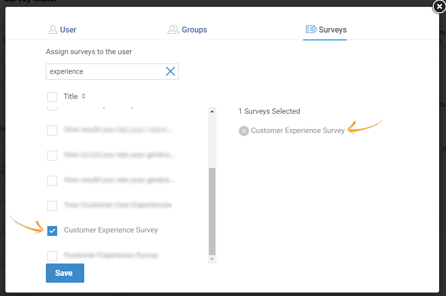 Assign surveys to users