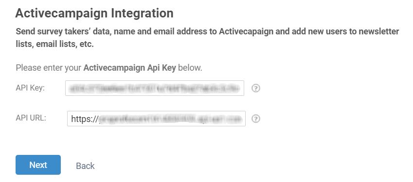 ActiveCampaign API Key and API URL