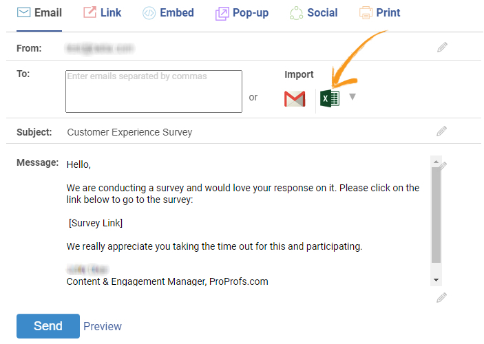 Import contacts in the survey using MS Excel