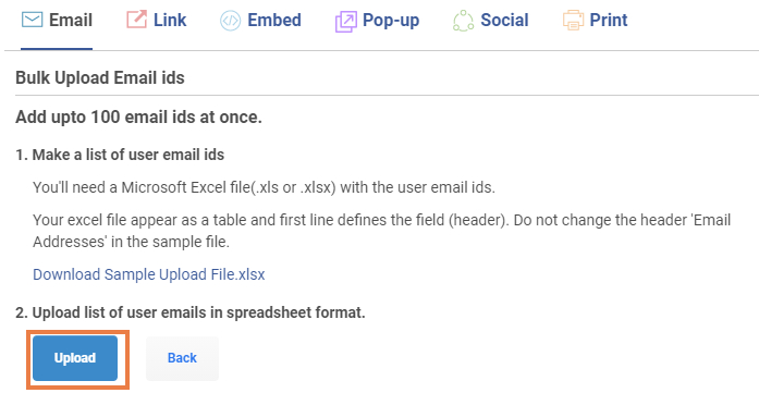 Upload the excel file and import contacts