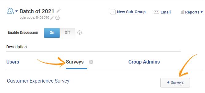 Add surveys to group